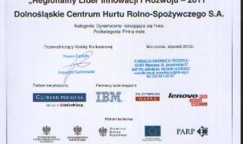 """DCHR-S S.A. zostało laureatem konkursu """"Krajowi Liderzy Innowacji i Rozwoju – 2011"""""""