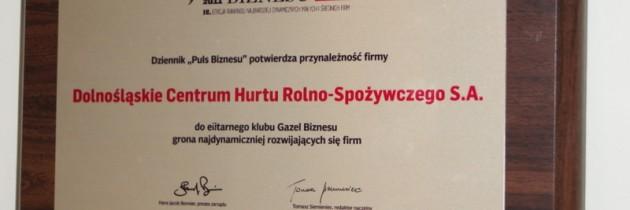 Wrocławski Rynek Hurtowy otrzymał tytuł Gazeli Biznesu.