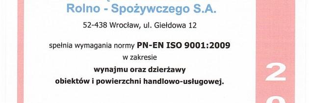DCHR-S S.A. otrzymało certyfikat SZJ PN-EM ISO 9001:2009.