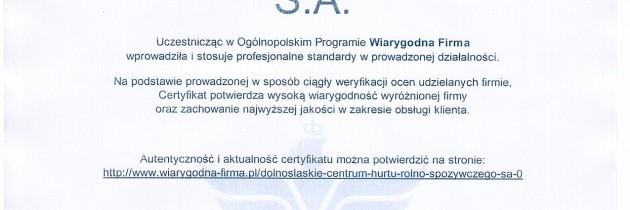 DCHR-S S.A. otrzymało Certyfikat Wiarygodności