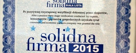 Certyfikat Solidnej Firmy 2015